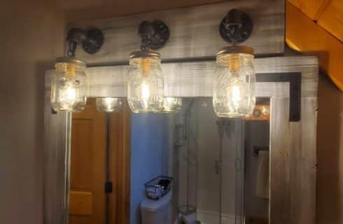 Mason jar vanity lights